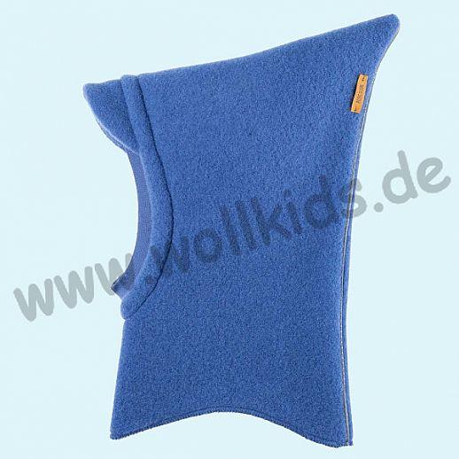 Schlupfmütze nautic blue - blau mit Reflektor, GOTS, kbT Wolle