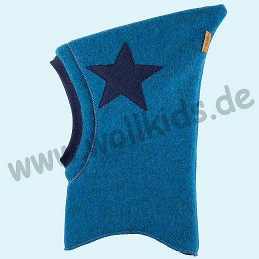 NEU: Pure-Tex Weiche Wollfleece Mütze Schlupfmütze petrol mit Stern, GOTS, kbT Wolle