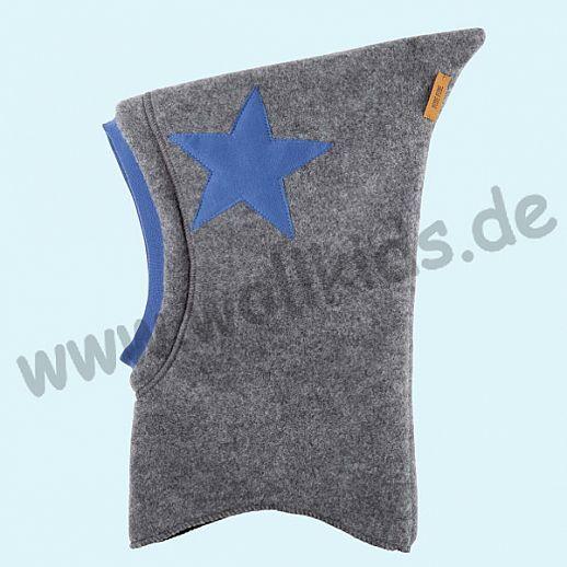 NEU: Pure-Tex Weiche Wollfleece Mütze Schlupfmütze schiefer - grau mit Stern, GOTS, kbT Wolle