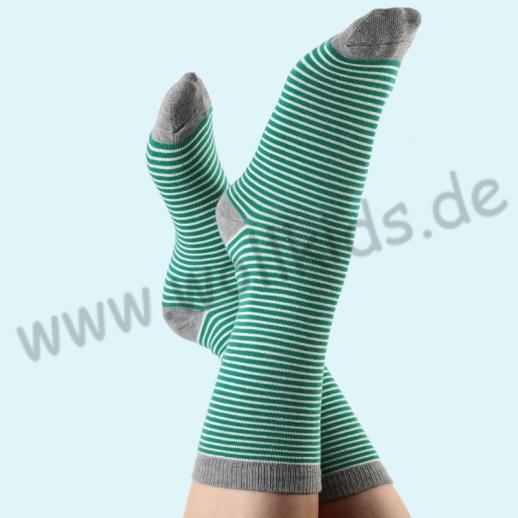 ALBERO - BIO Baumwolle - Damen- und Herrensocken grau-melange Ringel
