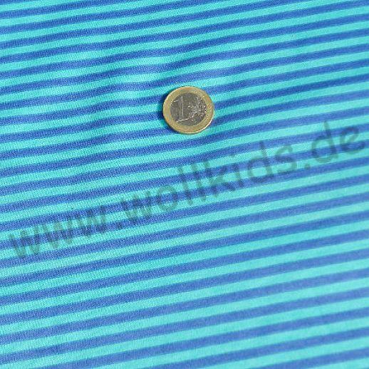 Interlock - türkis blau Streifen - Ringel - Baumwolle - schönes Stöffchen