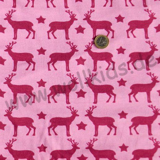BIO Jersey Hirsche pink rosa Organic - ideal für Babykleidung - Kinderkleidung - Bodys, Shirts und mehr
