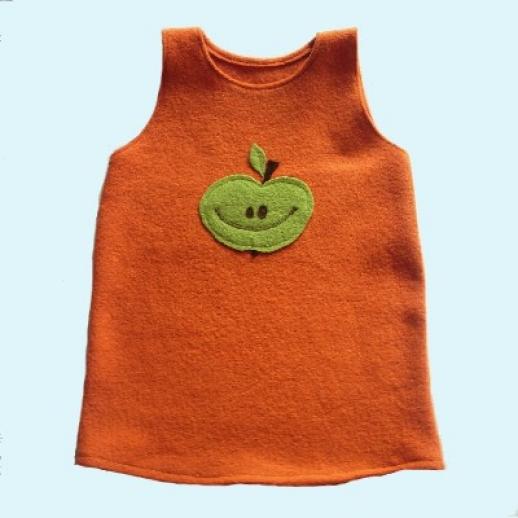 SALE: Walk-Kleid Orange mit Apfel Ökowalk