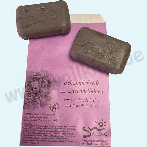 SALING - Schafmilchseife Lavendelblüten - Natur Pur - BDIH zertifizierte Naturkosmetik - 100g