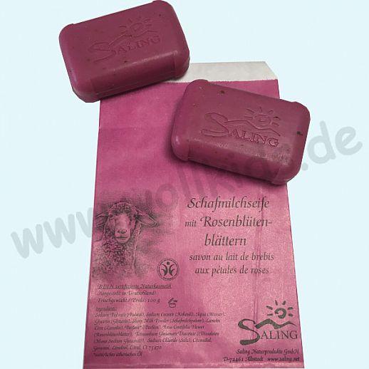 SALING - Schafmilchseife Rosenblüten - Natur Pur - BDIH zertifizierte Naturkosmetik - 100g