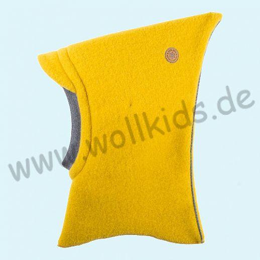 NEU: Pure-Tex Weiche Wollfleece Mütze Schlupfmütze lemon curry mit Reflektor, GOTS, kbT Wolle