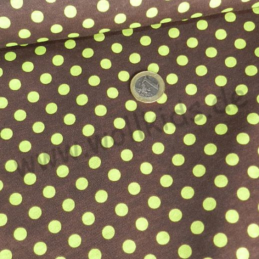 Interlock - schoko mit kiwi grünen Punkten - Baumwolle - wunderschön