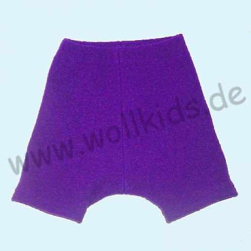 Shortie Bermuda Hose in lila Öko-Walk 100% Schurwolle WOLLKIDS
