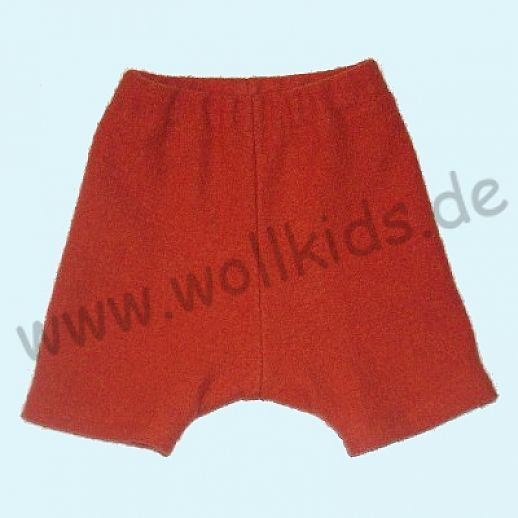 Shortie Bermuda Hose in orange Öko-Walk 100% Schurwolle WOLLKIDS