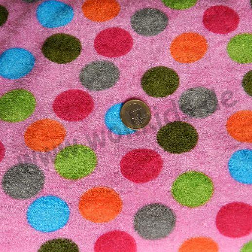 Bambus ☆ Sweatfrottee ☆ Silas: pink bunte Punkte ☆ traumhaft weich ☆ ideal für Baby und Kind