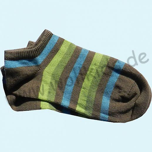 GRÖDO Natur Süße Kinder Socke Sneaker Ringel kbA Baumwolle oliv grün blau Ringel Ringel