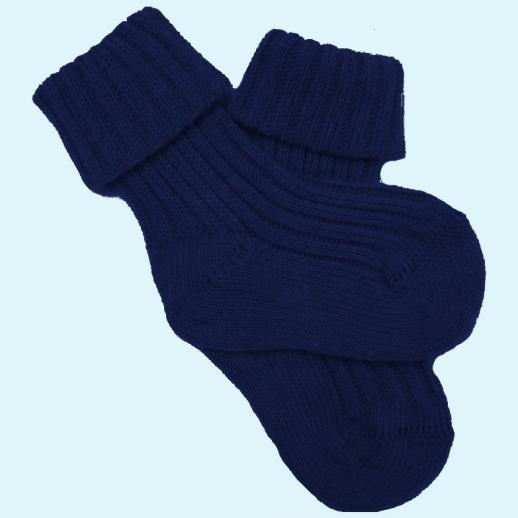 Socke Umschlagsocke kbA Baumwolle grob gestrickt - marine blau