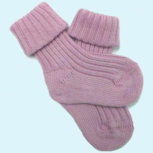 Socke Umschlagsocke kbA Baumwolle grob gestrickt - rose rosa