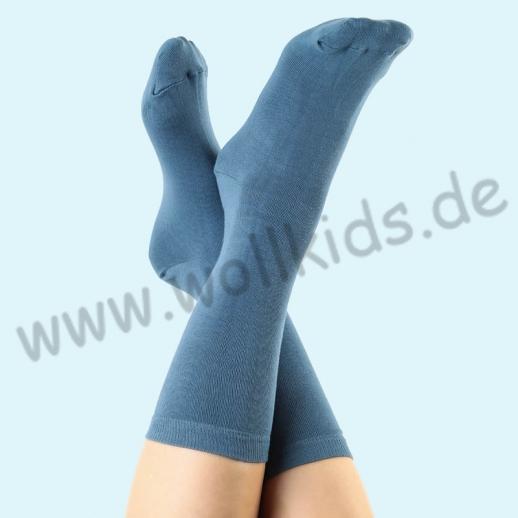 ALBERO - BIO Baumwolle - Damen- und Herrensocken Denim-Blau