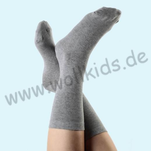 ALBERO - BIO Baumwolle - Damen- und Herrensocken grau-melange