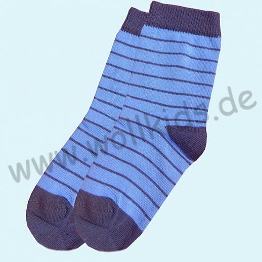 GRÖDO Natur Süße Kinder Socken Ringel kbA Baumwolle blau grau Ringel