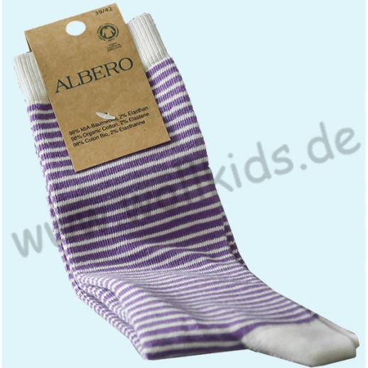 ALBERO - BIO Baumwolle - Damen- und Herrensocken  lila-natur Ringel