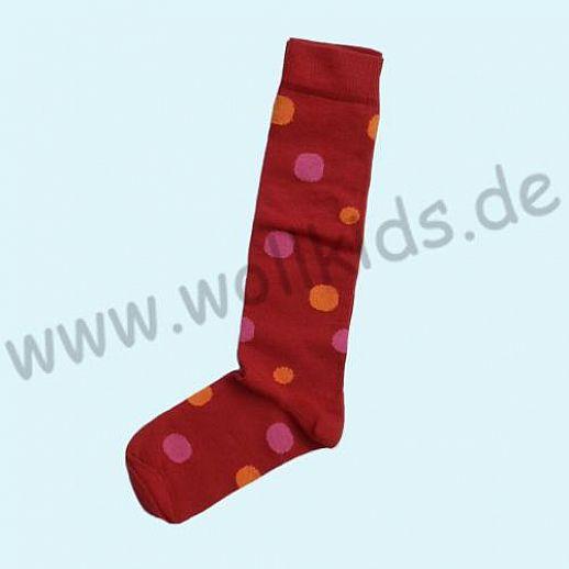 Süße Kinder Kniestrümpfe kbA BW rot mit Punkten Grödo Natur