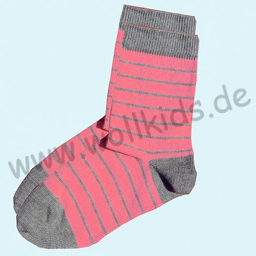 GRÖDO Natur Süße Kinder Socken Ringel kbA Baumwolle pink grau Ringel
