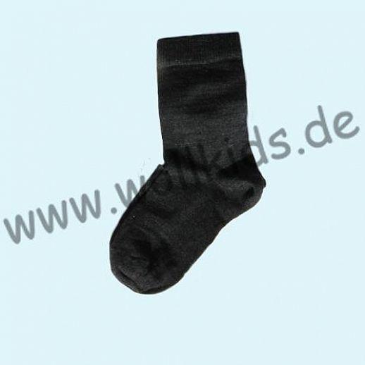 Warme Kinder-Socken kbT Schurwolle GRÖDO Natur antrazit melange GOTS