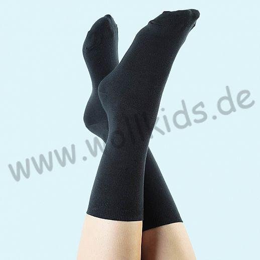ALBERO - BIO Baumwolle - Damen- und Herrensocken Frottee Thermosocken schwarz