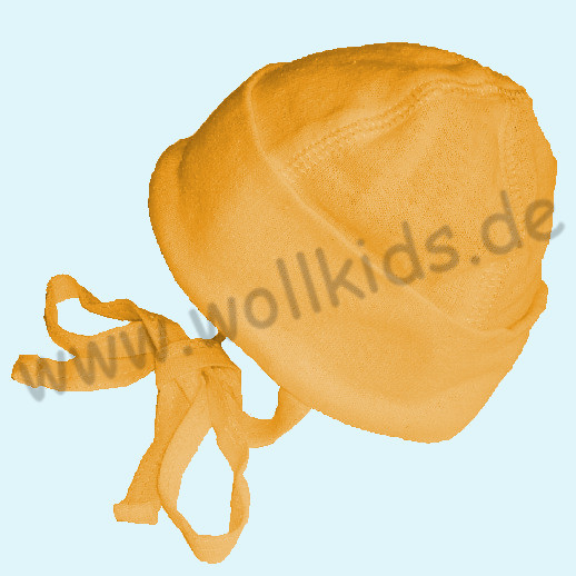 ALKENA Baby Mütze - Reine Bourette Seide - zart zur Haut - marine, terra, gelb