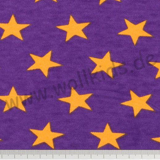 Interlock - pflaume - gelb -  Stars - Sterne Baumwolle - bezaubernd