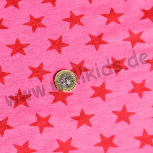 Jersey - Baumwolle - Sterne in rot auf pink - Top Qualität