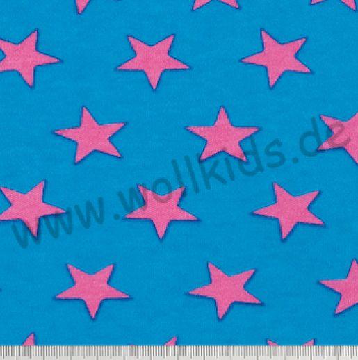 Interlock - türkis - pink -  Stars - Sterne Baumwolle - bezaubernd