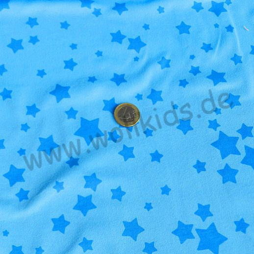 Wunderschöner Interlock in hellblau mit Sternen - Baumwolle - super Qualität