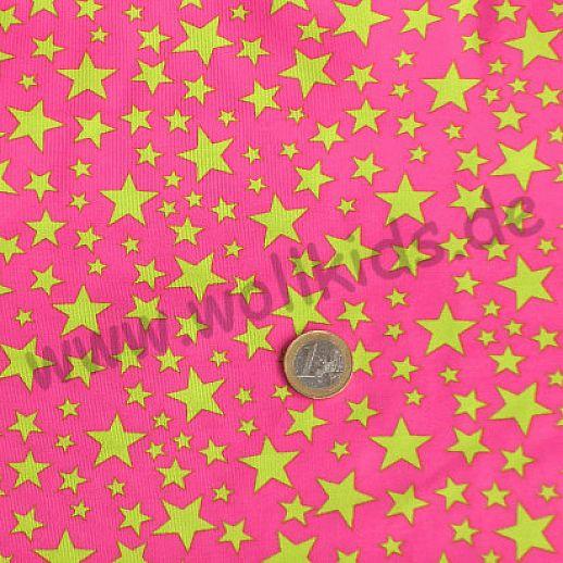 Jersey - Baumwolle - Pink mit unregelmäßigen Sternen - Top Qualität