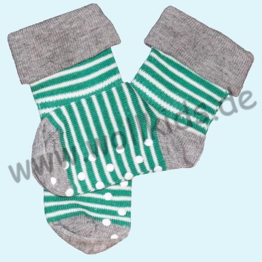 ALBERO - BIO Baumwolle - Stoppersocke grün-grau-Ringel