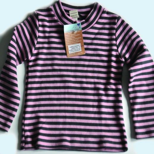 Storchenkinder Ringel Pulli rosa anthrazit BIO Baumwolle