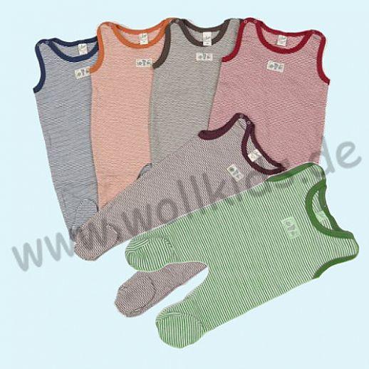 Traumhaft: Lilano - Strampler - Strampelanzug mit Fuß - Wolle Seide Ringel - viele Farben