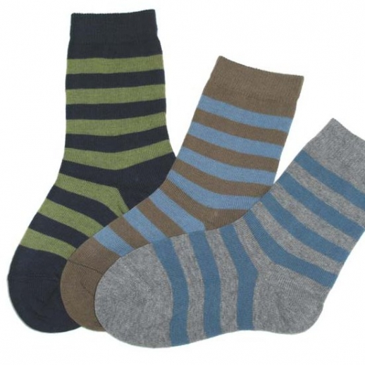 Süße Kinder-Socken Ringel kbA BW braun / blau