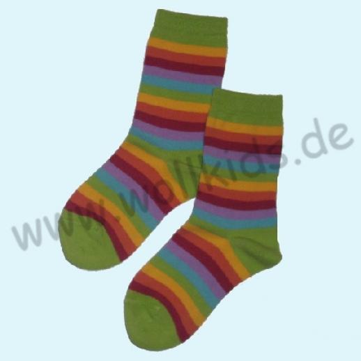 Süße Kinder-Socken Ringel kbA BW grün Ringel farbig von Grödo