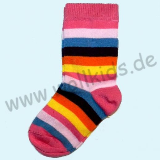 Süße Kinder-Socken Ringel kbA BW pink Ringel bunt