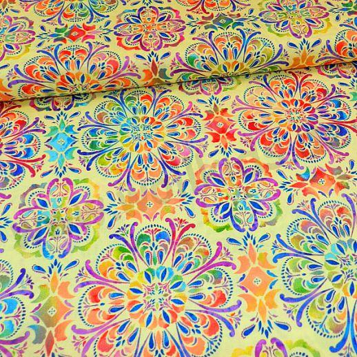 Swafing Butterly Mandala Patchwork - Baumwolle - Webware - tolle Qualität - wunderschön Mandala gelb