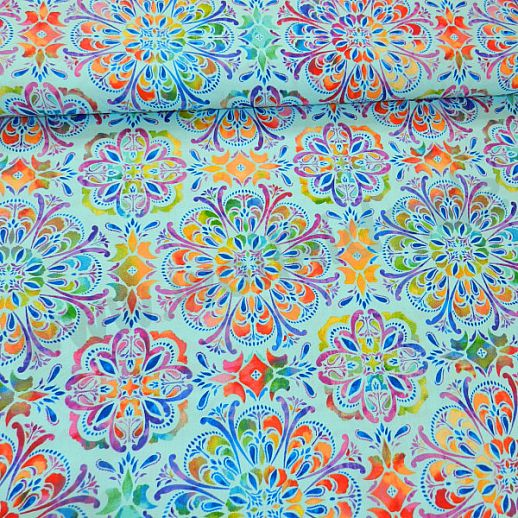 Swafing Butterly Mandala Patchwork - Baumwolle - tolle Qualität - wunderschön Mandala türkis
