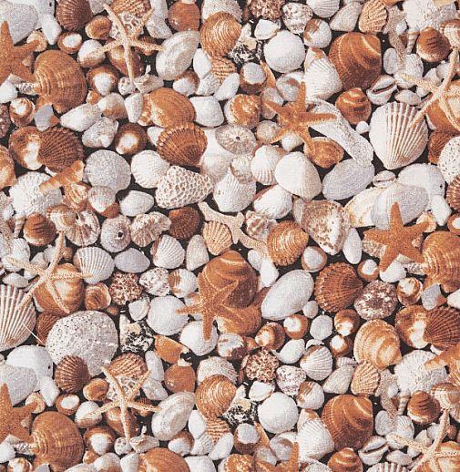 Swafing Muscheln und Seesterne Baumwolle - Webware - tolle Qualität - braun beige