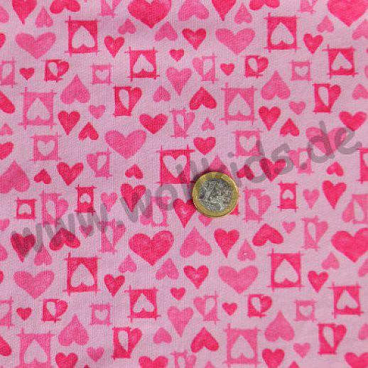Reine Baumwolle ☆ Sweat ☆ rosa mit Herzen in pink ☆ ideal für Baby und Kind