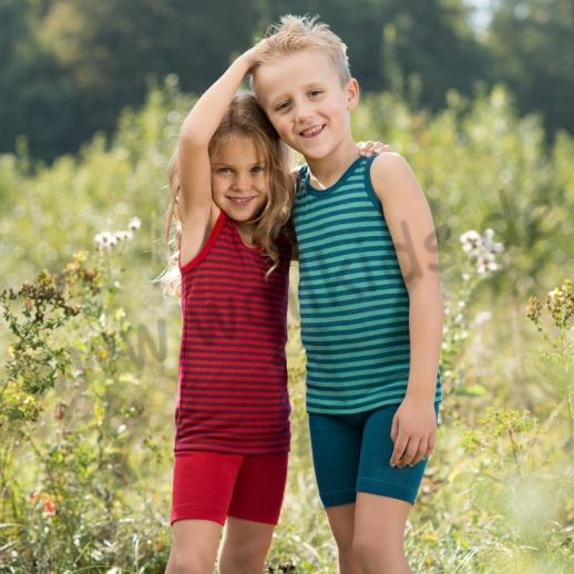 NEU: maschinenwaschbar Engel Kinder Achselhemd Hemd Wolle Seide blau-türkis