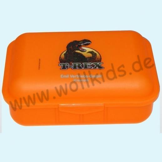 Emil die Flasche - Brotdose mit Innenteilung orange mit T-REX Dinosaurier