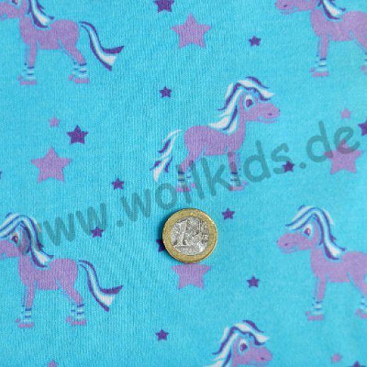 BIO-Interlock türkis Pferd Ringelsocke Organic - ideal für Babykleidung