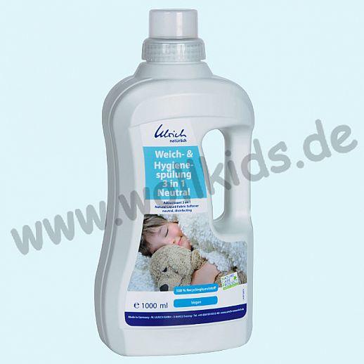 Ulrich natürlich: Wäsche-, Hygiene-, Weichspüler 3 in 1 Neutral 1l Flasche 100% Recyclingkunststoff