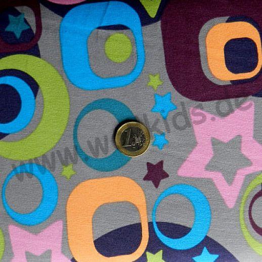 Jersey - Baumwolle - VICENTE Retro Stars Sterne grau bunt - Top Qualität