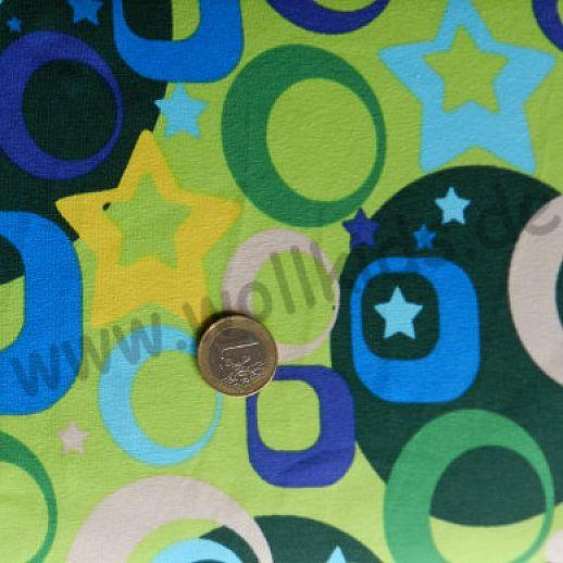 Jersey - Baumwolle - VICENTE Retro Stars Sterne grün - Top Qualität