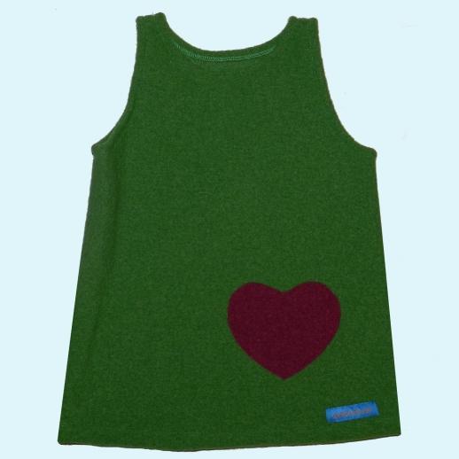 ABVERKAUF Walk-Kleid Gras - Grün mit Herz Wollwalk