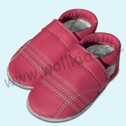 Gefütterte Lederpuschen Ökoleder Wollfilz Wollfutter Krabbelpuschen pink