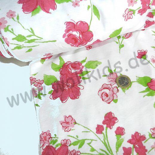 Interlock - weiß mit roten Rosen - Baumwolle - zauberhaft